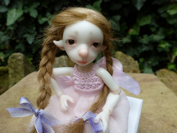 Handmade dark blond with plaits Tibetan lambskin wig for  BJD Bjtales Mouse and similar size dolls