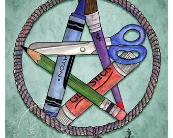 Kid's Pentacle -  Pagan Wiccan Print - Brigid Ashwood