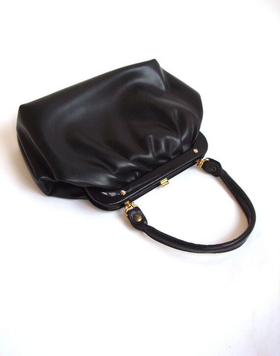 Vintage leather Purse/ Small Black 60's handbag/Soviet Design accessory/ Gift for her