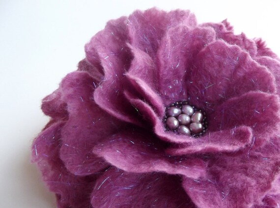 """Felted Flower Brooch, Hand Felted Jewelry, Flower Pin, Pink Flower,"""" Fairy Rose in pink"""""""