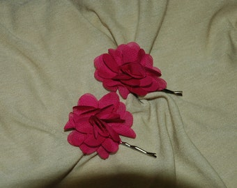 Pink Floral Bobby Pin - One Pin