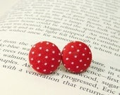 Red Polka Dot Earrings - Red Post Earrings - Red and White Button Earrings - 1/2 Inch Button Earrings