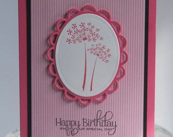 Happy Birthday Hand Made Card Pink Flowers and Stripes, Birthday Card for Mom, Friend Greeting Card, Floral Birthday Note Card