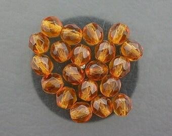 20 dark topaz czech fire crystal faceted beads 6mm
