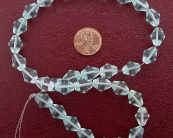 12x10 bicone gemstone aqua quartz beads
