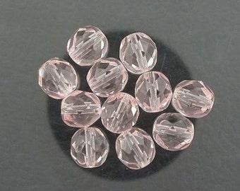 12  rosaline czech fire crystal beads 8mm