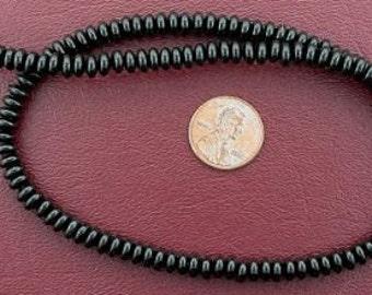 6mm rondelle gemstone black onyx beads