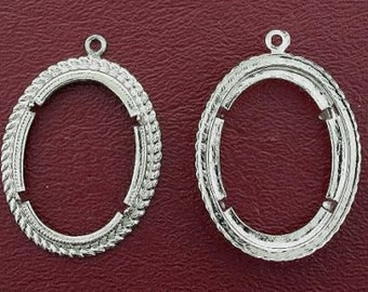 two silver plated 30x22  cabochon mounting