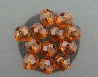 12  dark topaz czech fire crystal beads 8mm