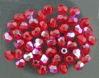 25 siam ruby  ab czech fire crystal beads 4mm