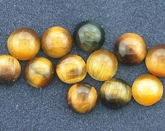 12 - 4mm round tigereye cabochon gem stone gemstone