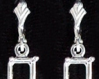 sterling 8x6 octagon lever back dangle earring mounting