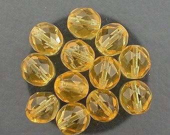 12  light topaz  czech fire crystal beads 8mm