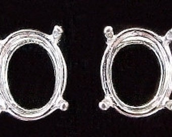 sterling silver pair 7x5 oval earring mounting