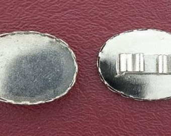 one silver color 25x18 bezel  bolo bola tie mounting cf556