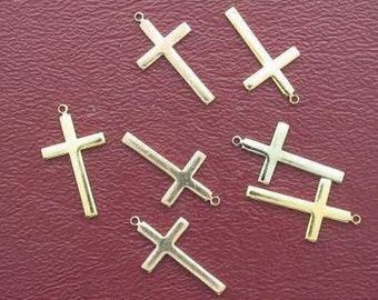 six  3/4 inch goldplated cross charms