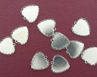 10 14mm bezel heart silverplated pendant mounting