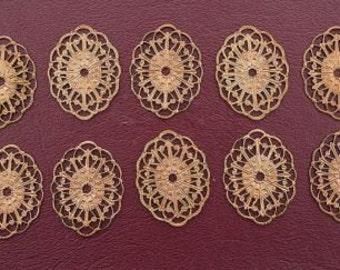ten ornate 29x22 oval copper filigree findings