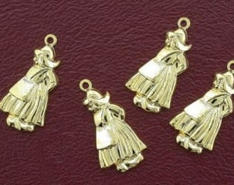 four goldplated 21mm dutch girl  charms / pendants