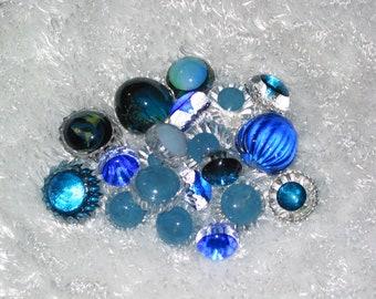 Set of Four Blue Hand Blown Glass Baubles