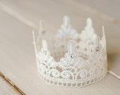 White Lace Newborn Crown, Photography Prop, Swarovski Crystals - FeatherRiverBoutique