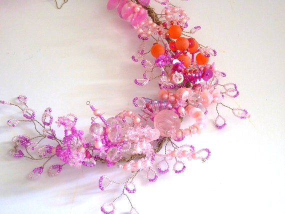 Pink Magenta Decorative Wreath with alpaca wire beads and tinsels