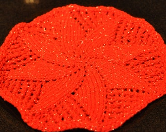 Hand Knit Poinsetta Dishcloth
