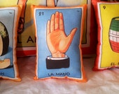 Mano (Hand) Mexican Loteria Mini Pillow with Lavender - Dia De Los Muertos / Day of the Dead / Party Favors
