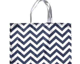 "Navy Blue Chevron Tote Bag -Blue Shoulder Bag-Blue Beach Bag Navy Blue Chevron Tote-Navy Blue Chevron Bag- 17"" x 13"""