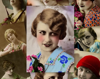 Vintage Women ATC ACEO cards Digital Collage Sheet for Scrapbooking Altered Art Victorian Style / AC39