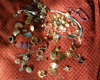 Junk Jewelry Lot  Rhinstones, Odd & Ends, #3