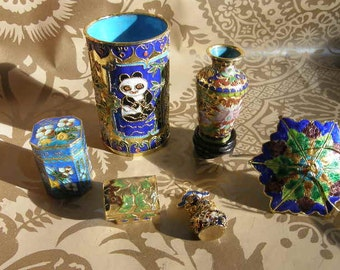 Six Piece Lot Cloisonne Vase, Box, Pencil Holder, Small Bottle All Hand Made