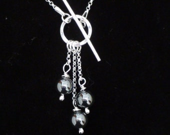 Hematite  and sterling silver T Bar Necklace
