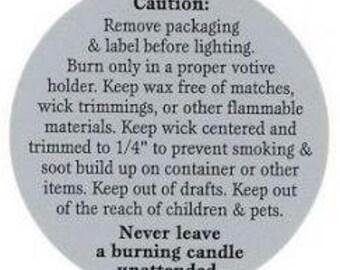 Tealight/Votive Candle Warning Label - 10 Pack