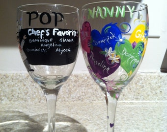 Hand Painted, Personalized Wine Glasses for Grandpa/Grandma
