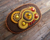 Soutache Jewelry decorated with Orange, Brown Hair buckle,  Autumn colors