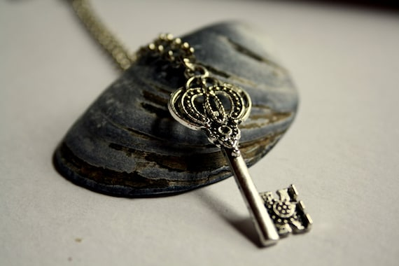 Skeleton key pendant - woman's necklace - gift for her