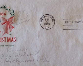 Merry Christmas Bethlehem, PA 1964 First Day Cover, House of Farnam - Pencil addressed