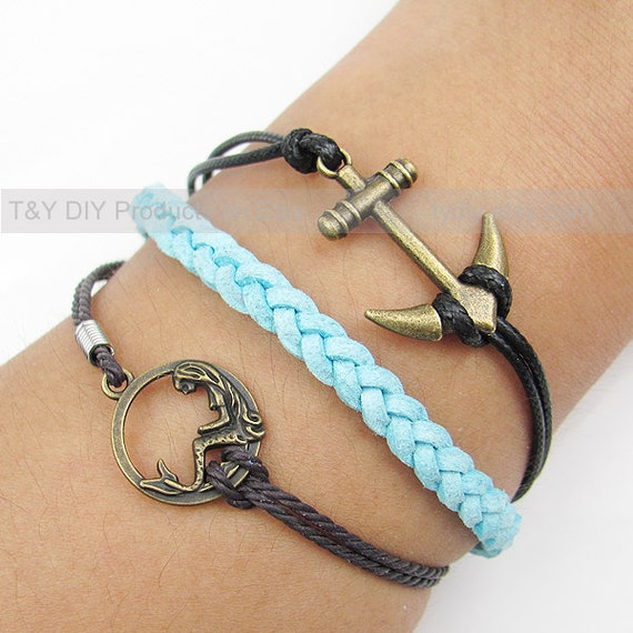Anchor Bracelet Mermaid Bracelet Charm Bracelet Leather by ...