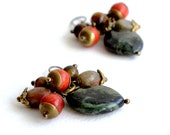 Earrings from earth colored semiprecious stones