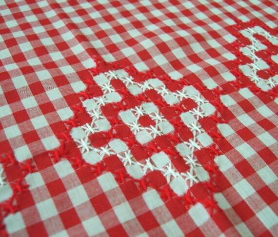 Vintage red white cotton gingham chicken scratch by