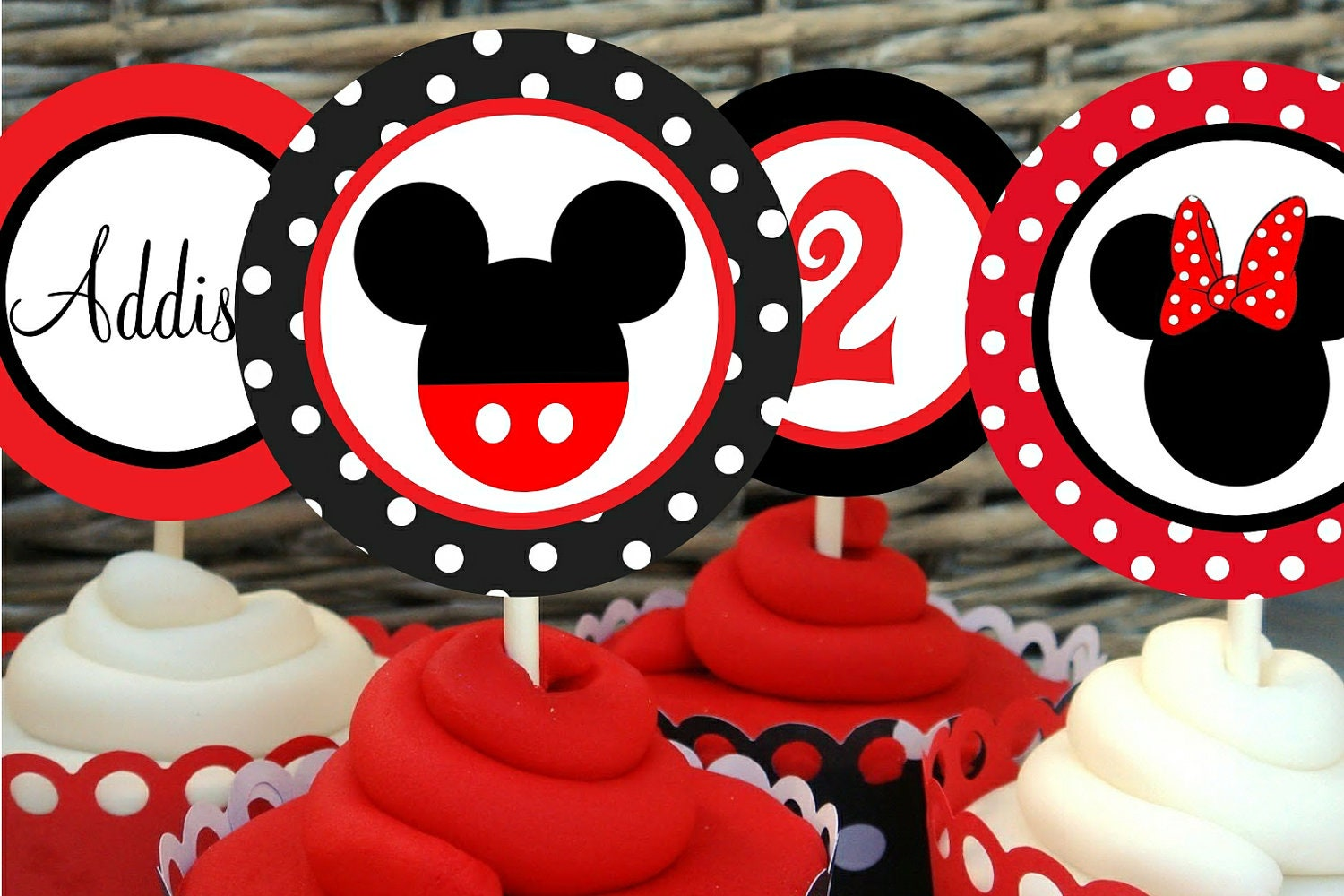 Mickey Mouse Printable Cupcake Toppers by MyPerfectPartyStudioMickey Mouse Cupcake Toppers