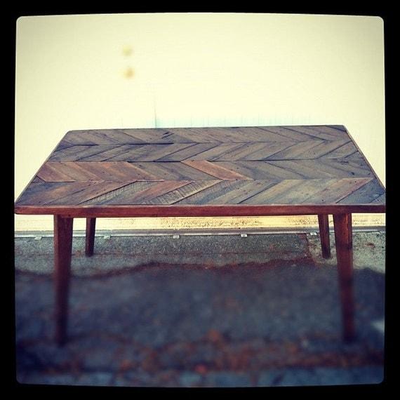 Herringbone Dining Table By Jsreclaimedwood On Etsy