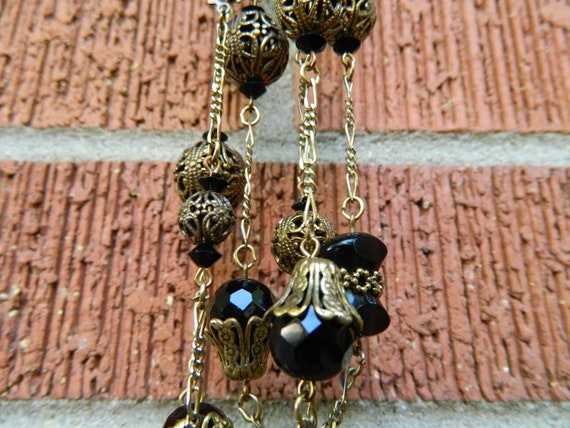 Vintage Long Layering Necklace - Onyx and Brass