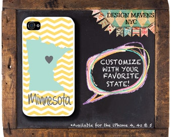 Minnesota iPhone Case, Personalized iPhone Case, Hometown Phone Case, iPhone 4,4s, iPhone 5, 5s, 5c, iPhone 6, Phone Cover, Phone Case