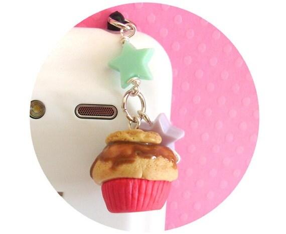 Cookie Cupcake Cellphone Dust Plug Charm for Smart Phones, Kawaii Fake Food, Handmade