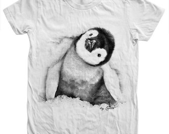 Womens Penguin Tshirt Hand Screen Print American Apparel Crew Neck