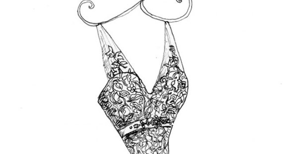 Wedding Dress Sketch Gift: Items Similar To Wedding Dress Portrait Pen & Ink Sketch