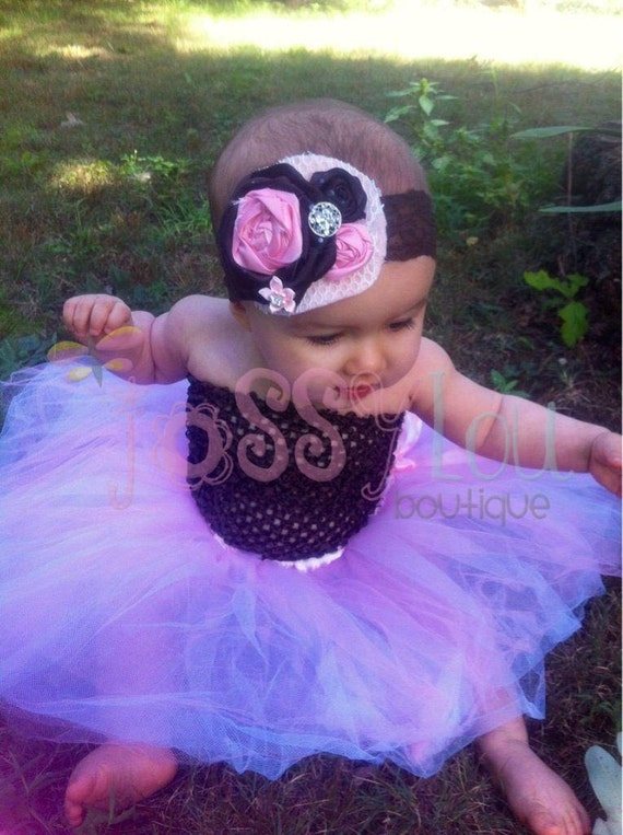 Pink and white baby tutu,pink and brown baby tutu, pink and brown tutu, brown and pink tutu, brown and pink baby tutu, matching headband,