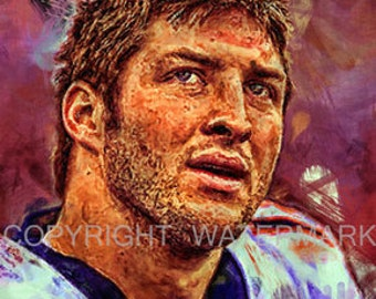 New Tim Tebow Broncos Jets Oil-style Portrait Print sn only 50, 12 x 18